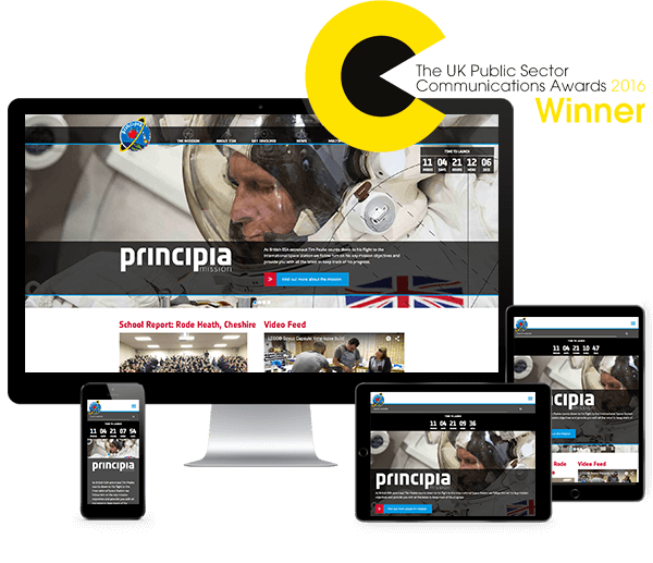 The UK Space Agency's Principia website displayed on a number of digital devices, including iPhone, iPad and Mac