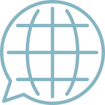 Light blue globe logo in speech bubble
