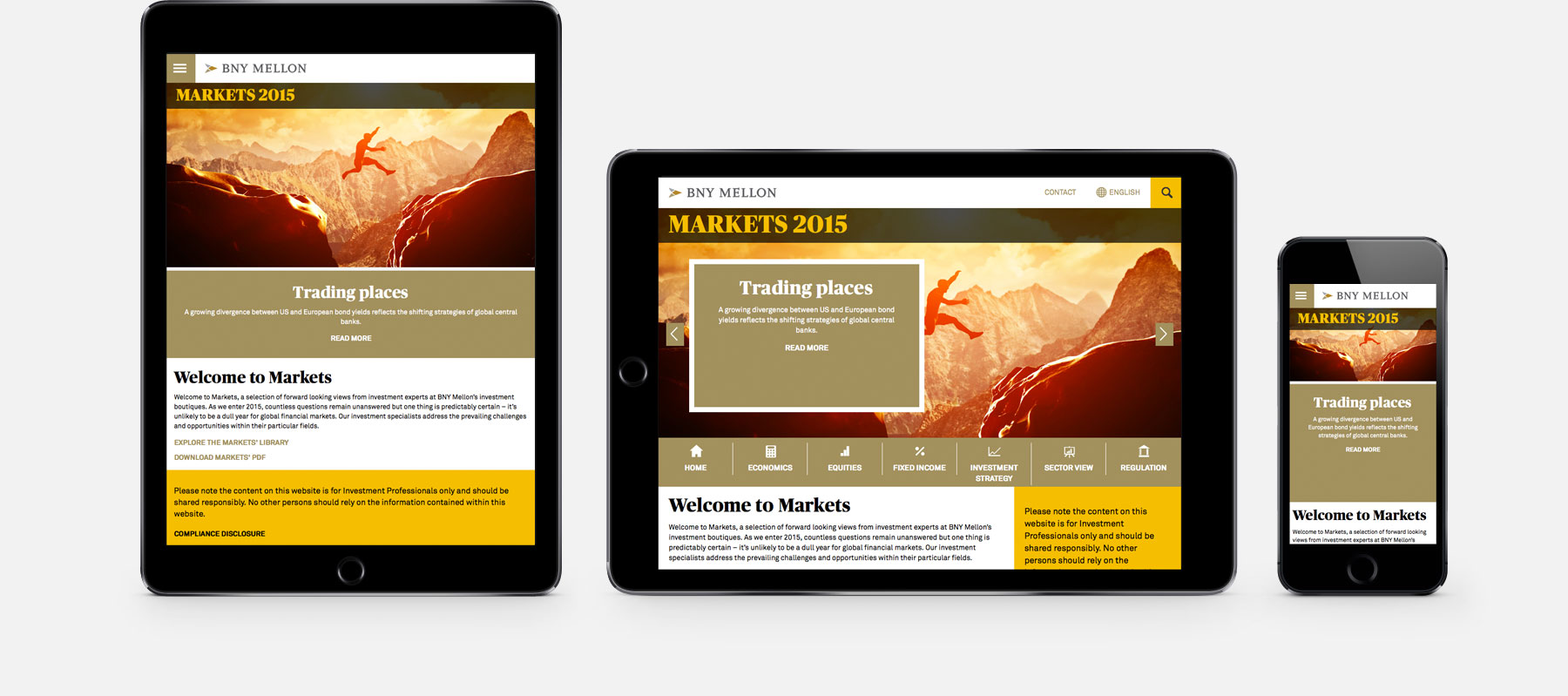 BNY Mellon Markets 2015 responsive web design