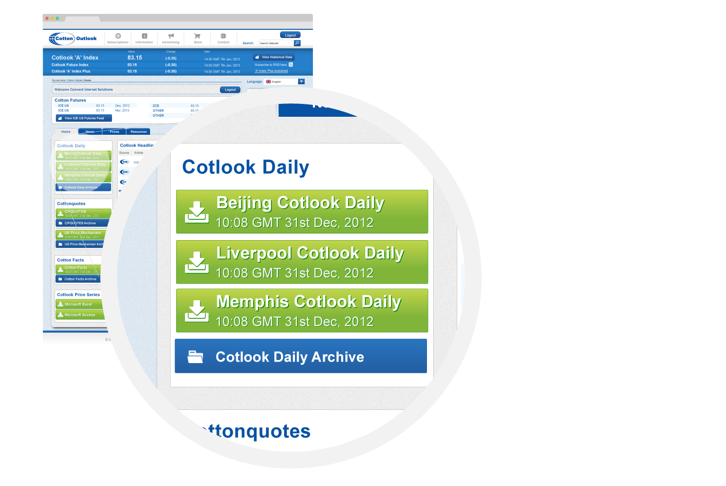 The Cotton Outlook subscriber interface