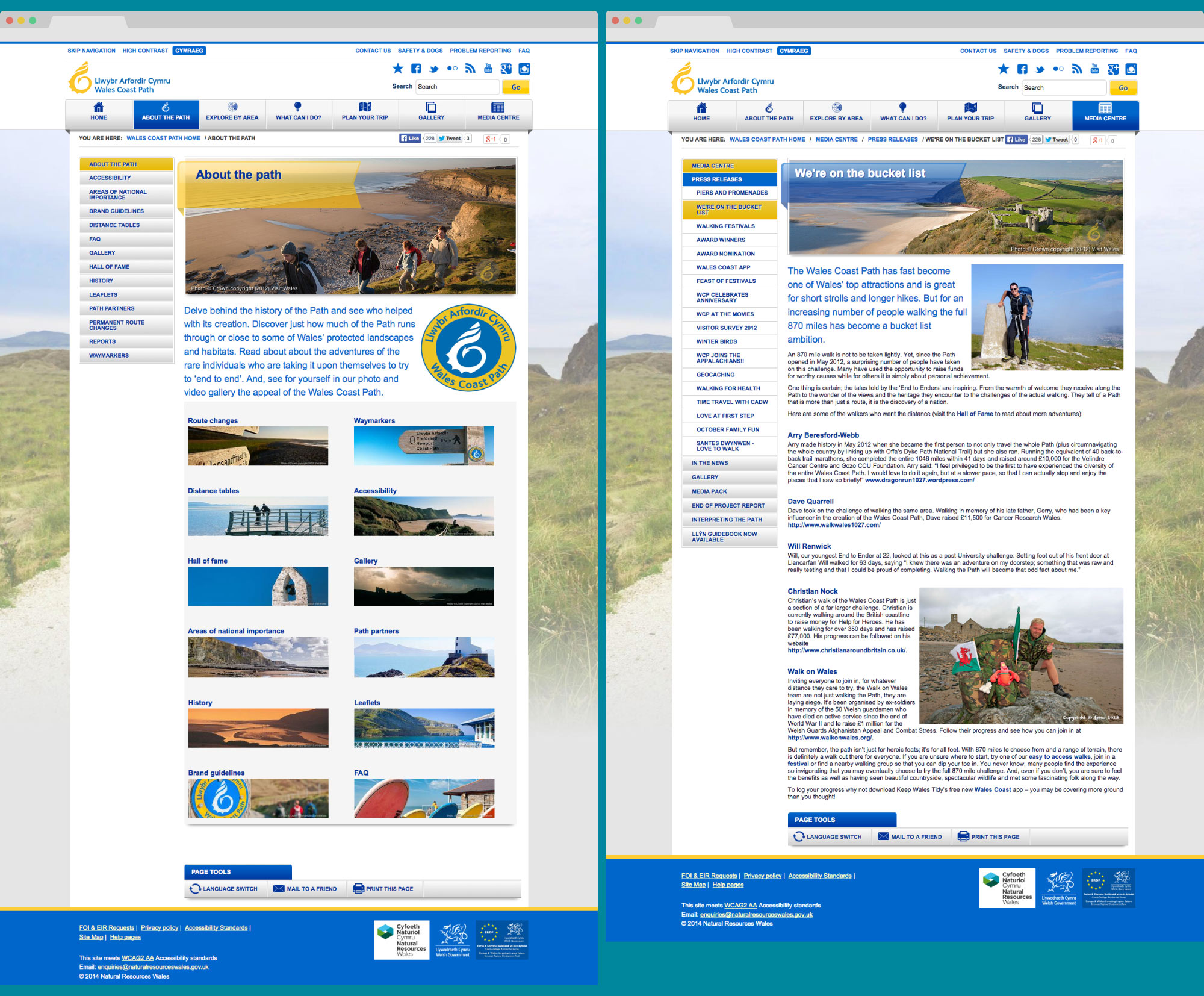 Wales Coast Path page templates