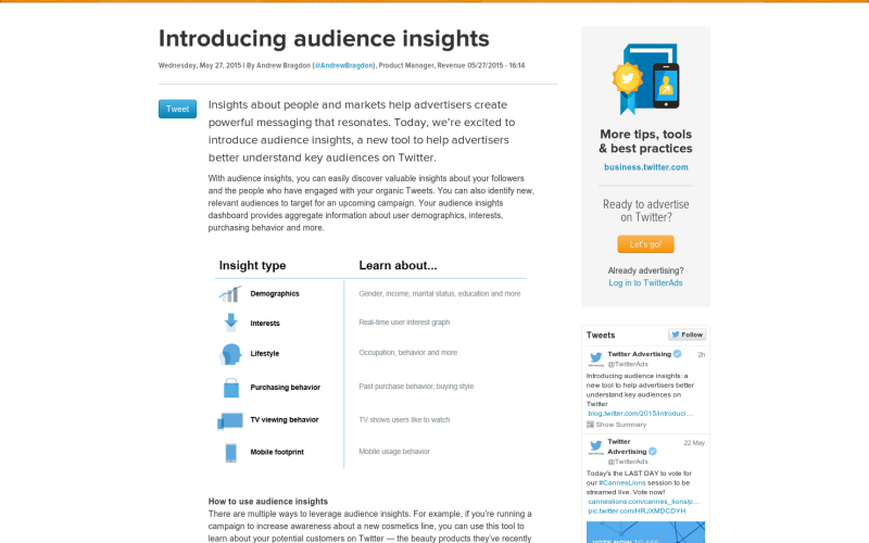 Twitter details Audience Insights