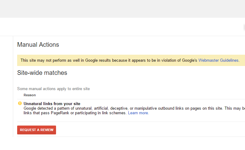 A manual action issues in Search Console for unnatural outbound links.