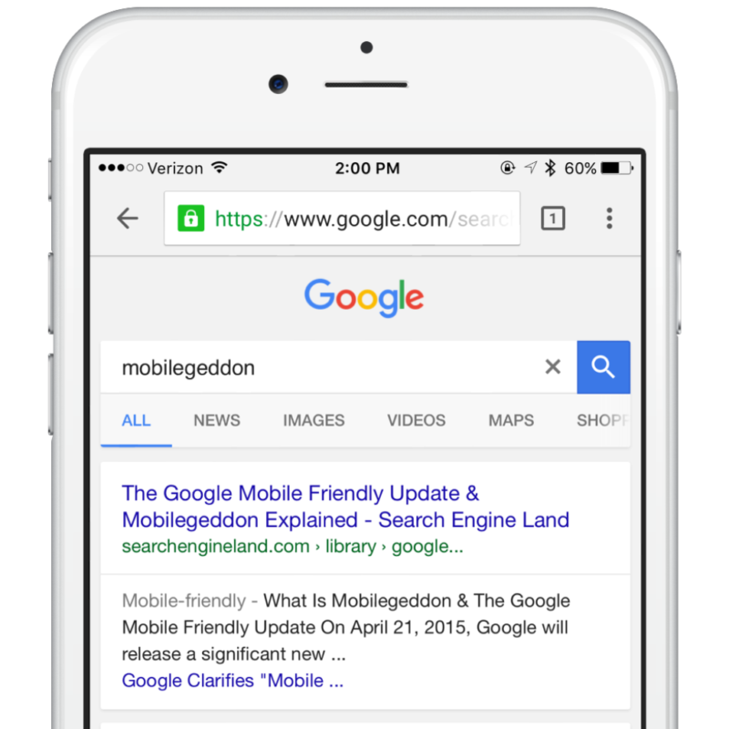 Google's search results displayed on an iPhone