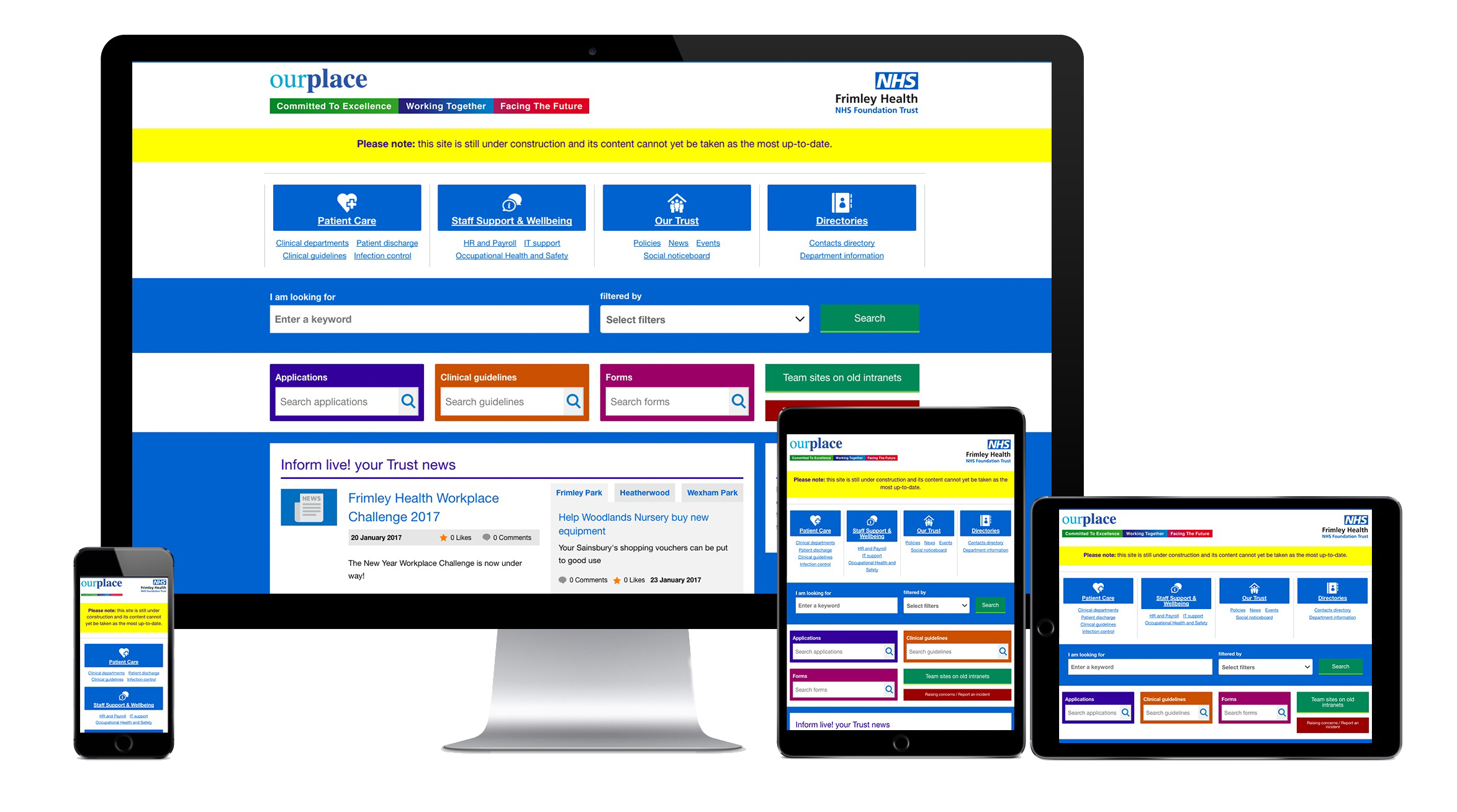 Frimley Health NHS Foundation Trust intranet on multiple devices