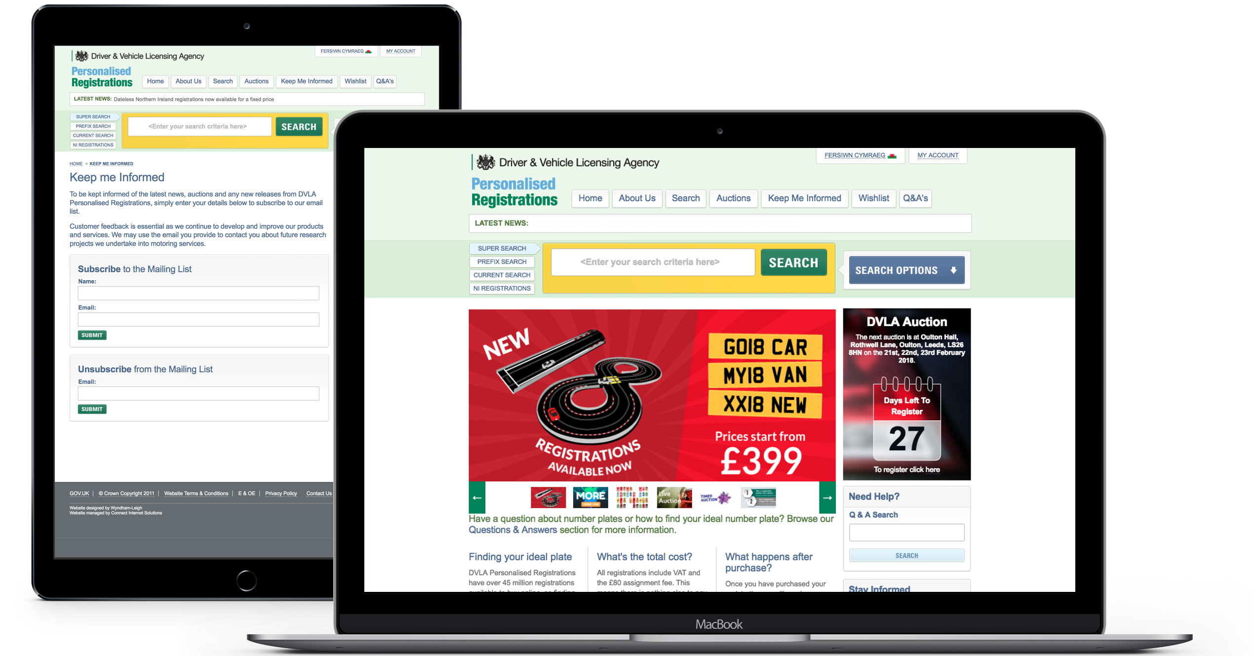 DVLA Personalised Registrations website displayed on iPad and Macbook