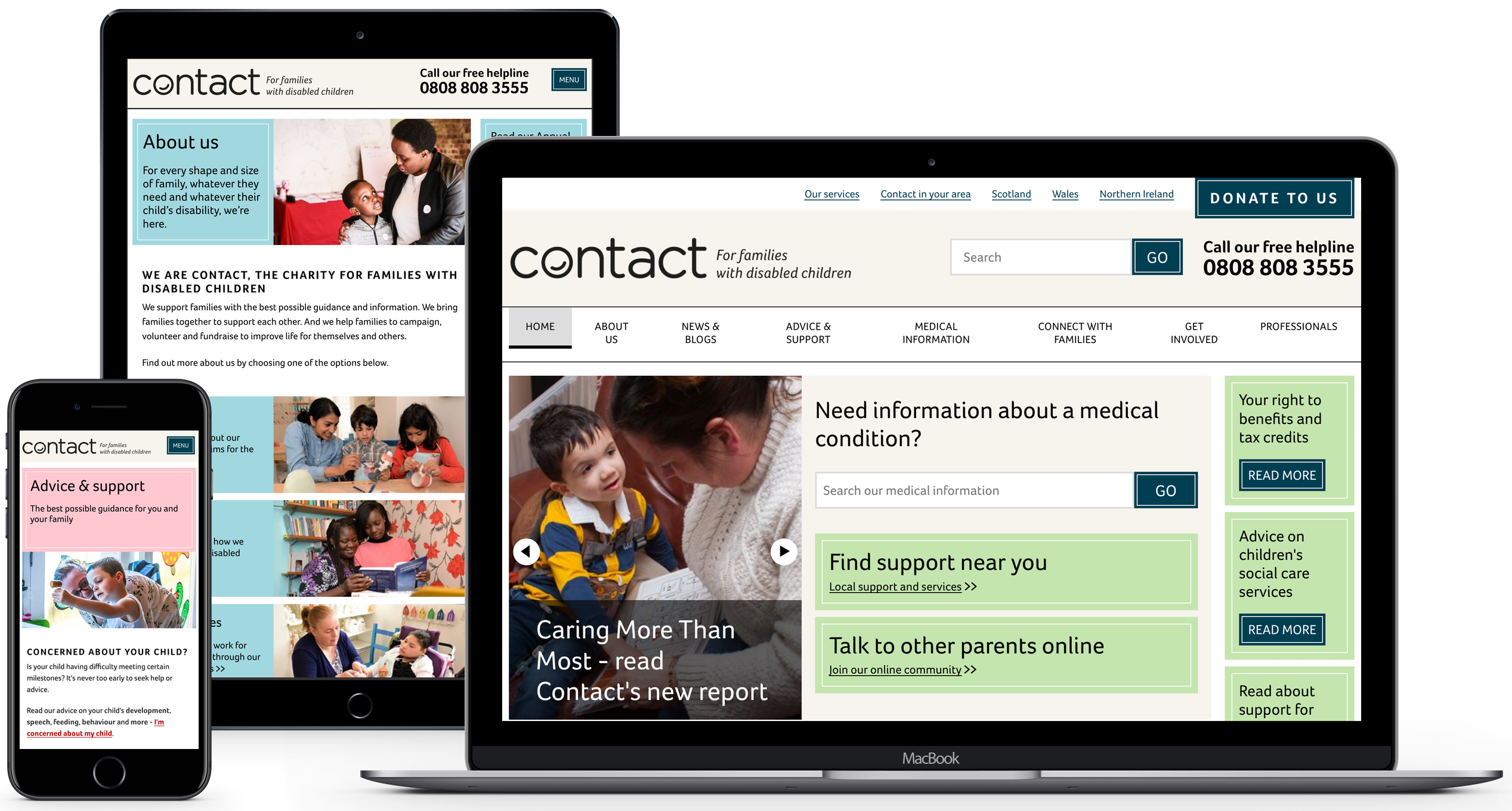 Contact a Family website displayed on iPhone, iPad and Macbook