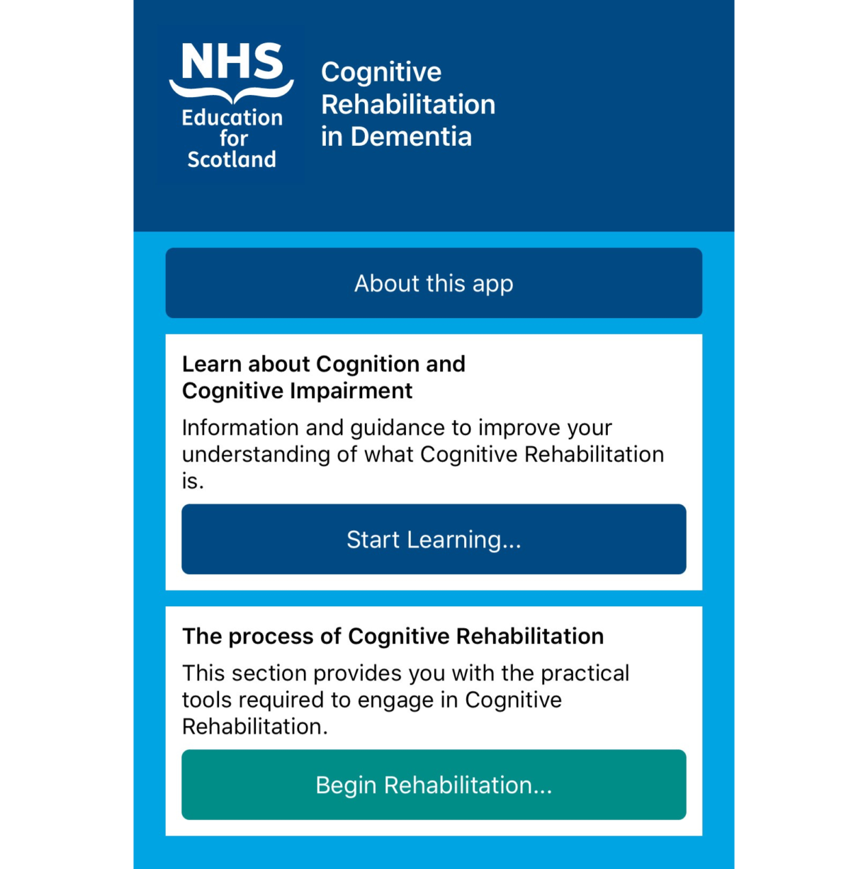 NHS Education for Scotland's Cognitive Rehabilitation in Dementia app home screen