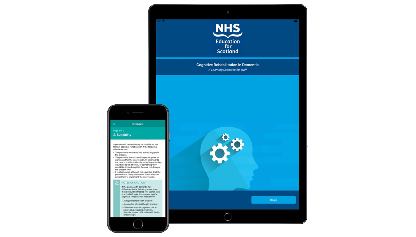 NHS Education for Scotland's Cognitive Rehabilitation in Dementia app displayed on iPad and iPhone devices