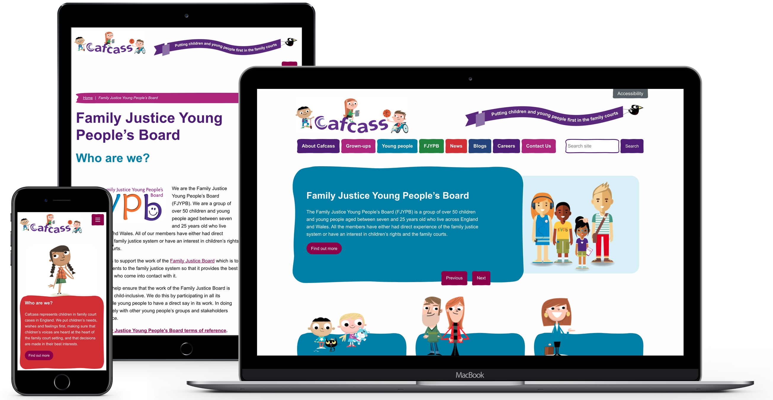 Cafcass website displayed on desktop, mobile and tablet