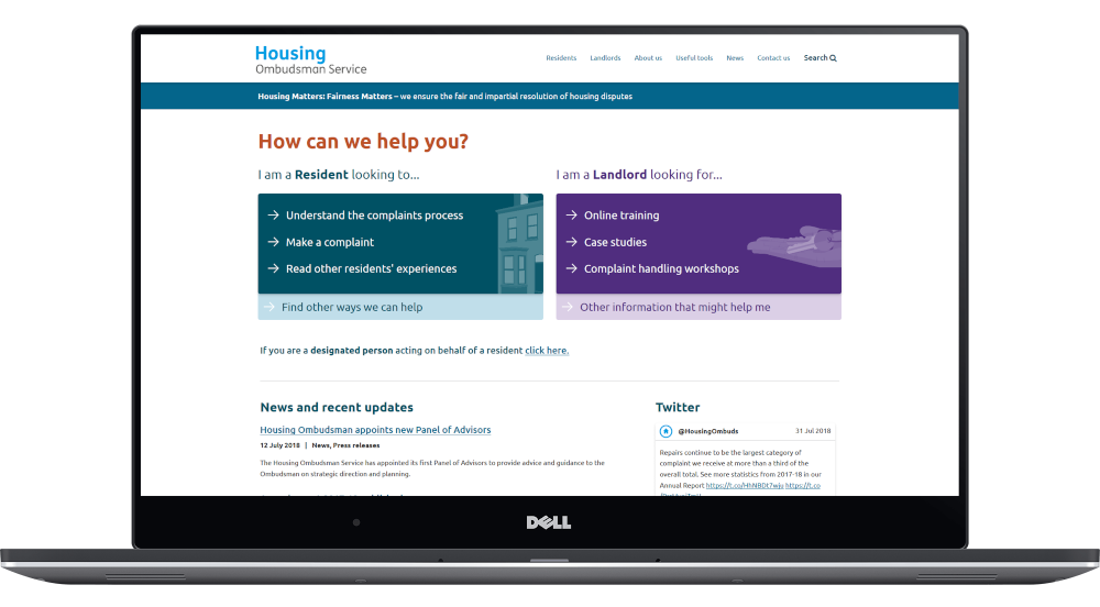 Housing Ombudsman website homepage displayed on a laptop