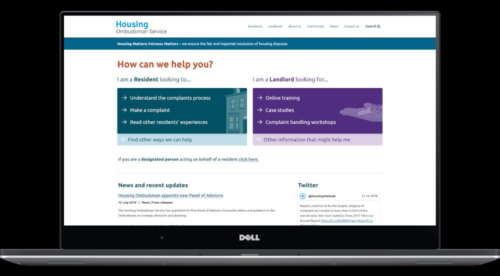 Housing Ombudsman website homepage displayed on a laptop