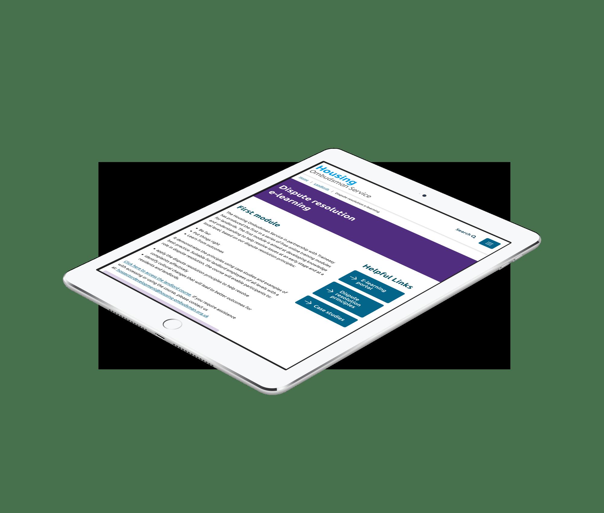 Housing Ombudsman e-learning website displayed on iPad