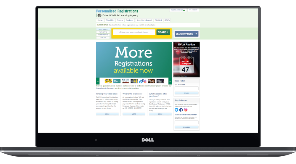The DVLA's Personalised Registrations website homepage displayed on a laptop