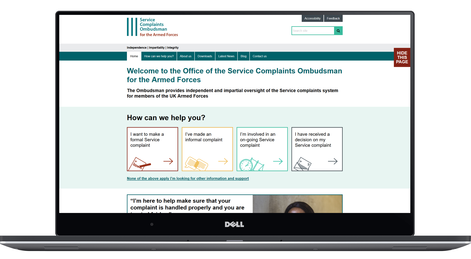 Service Complaints Ombudsman for the Armed Forces website displayed on a laptop