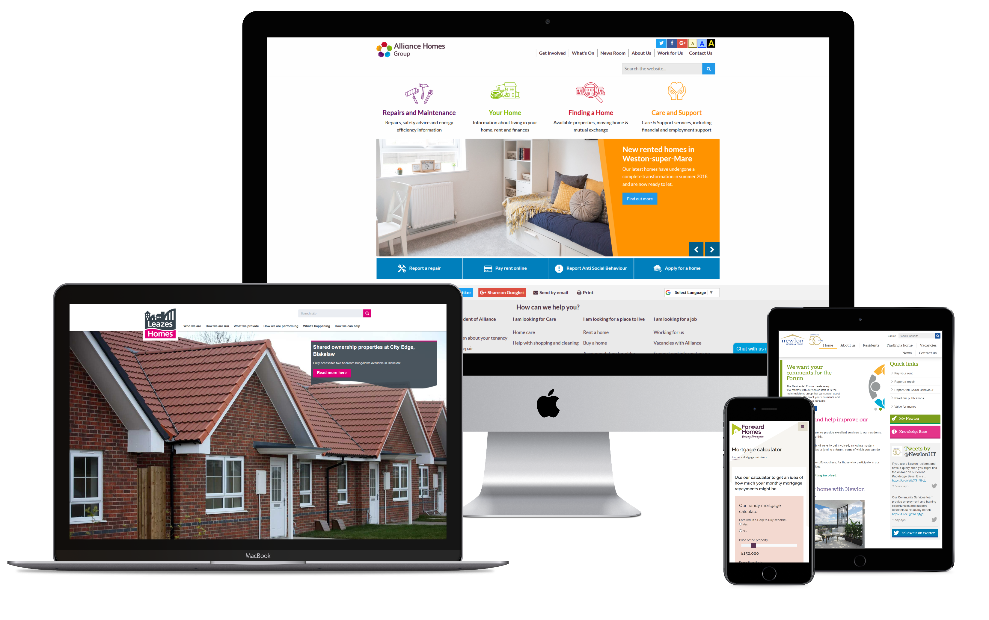 Housing sector websites displayed on various devices