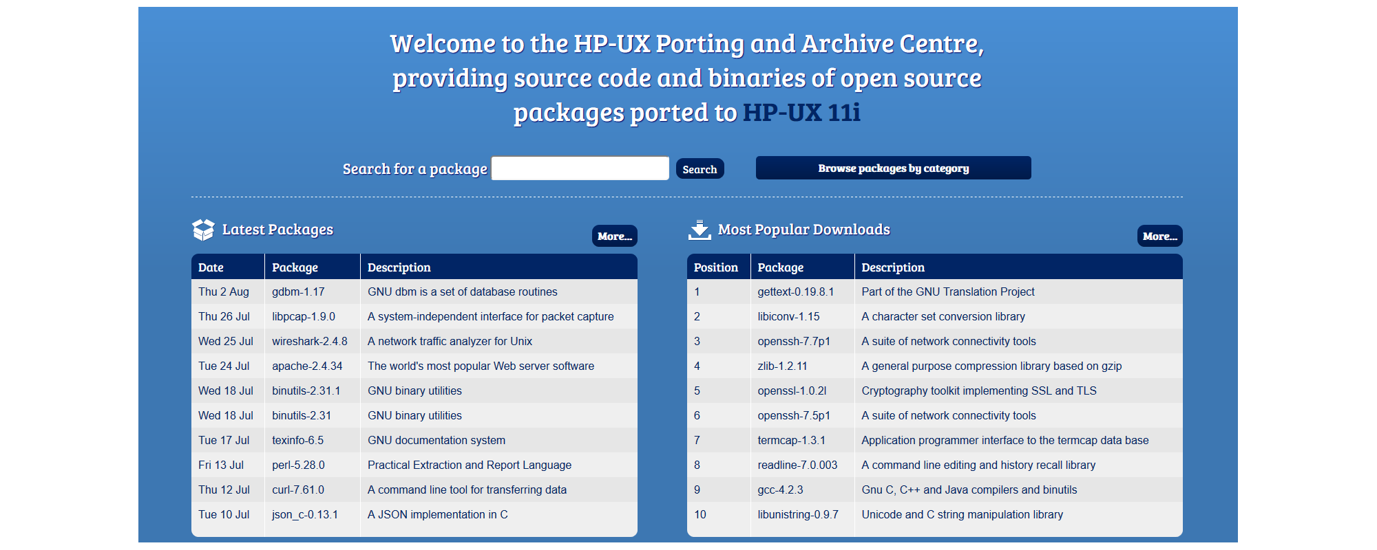 HP-UX Porting & Archive Centre screenshot