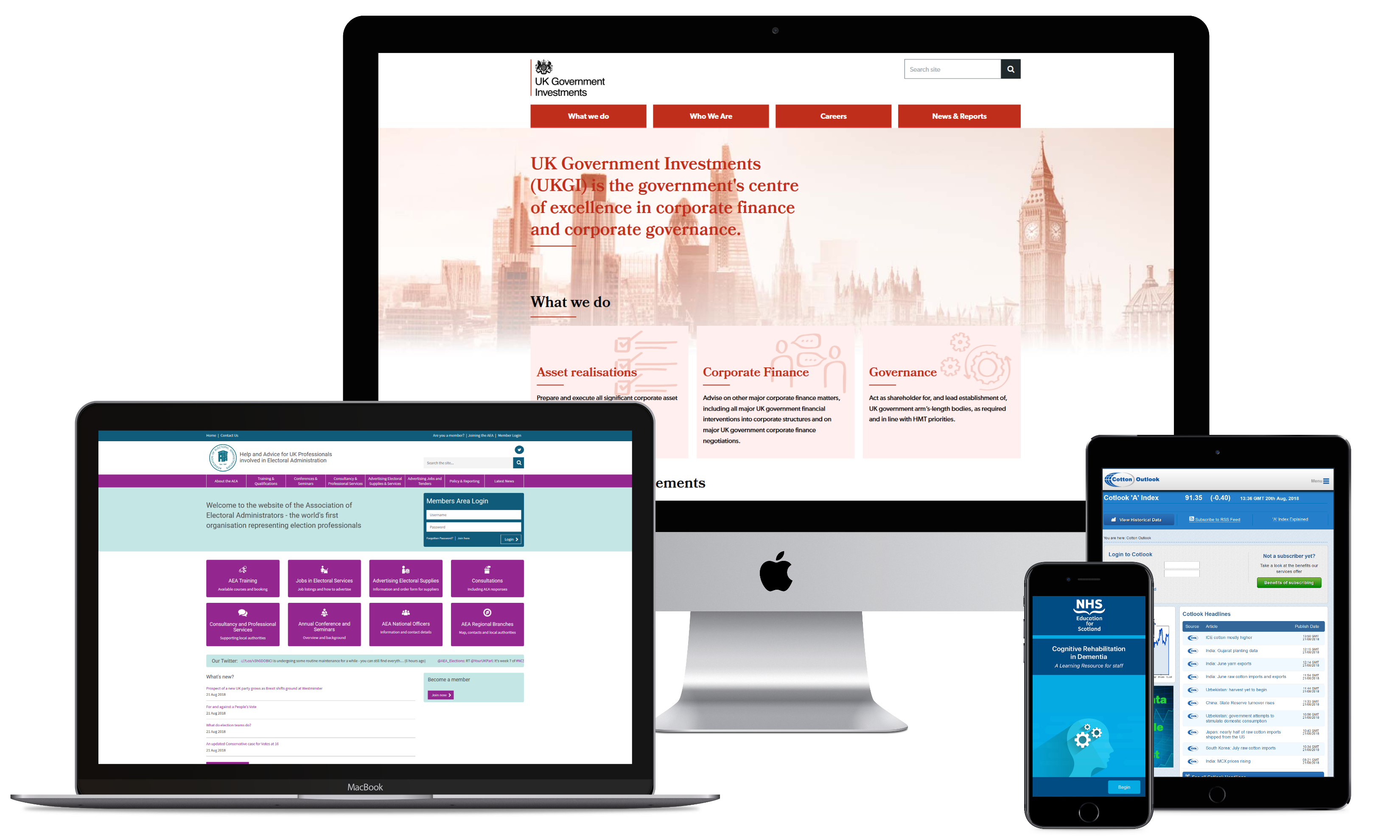 A selection of Connect's design & development projects displayed on desktop, mobile and tablet
