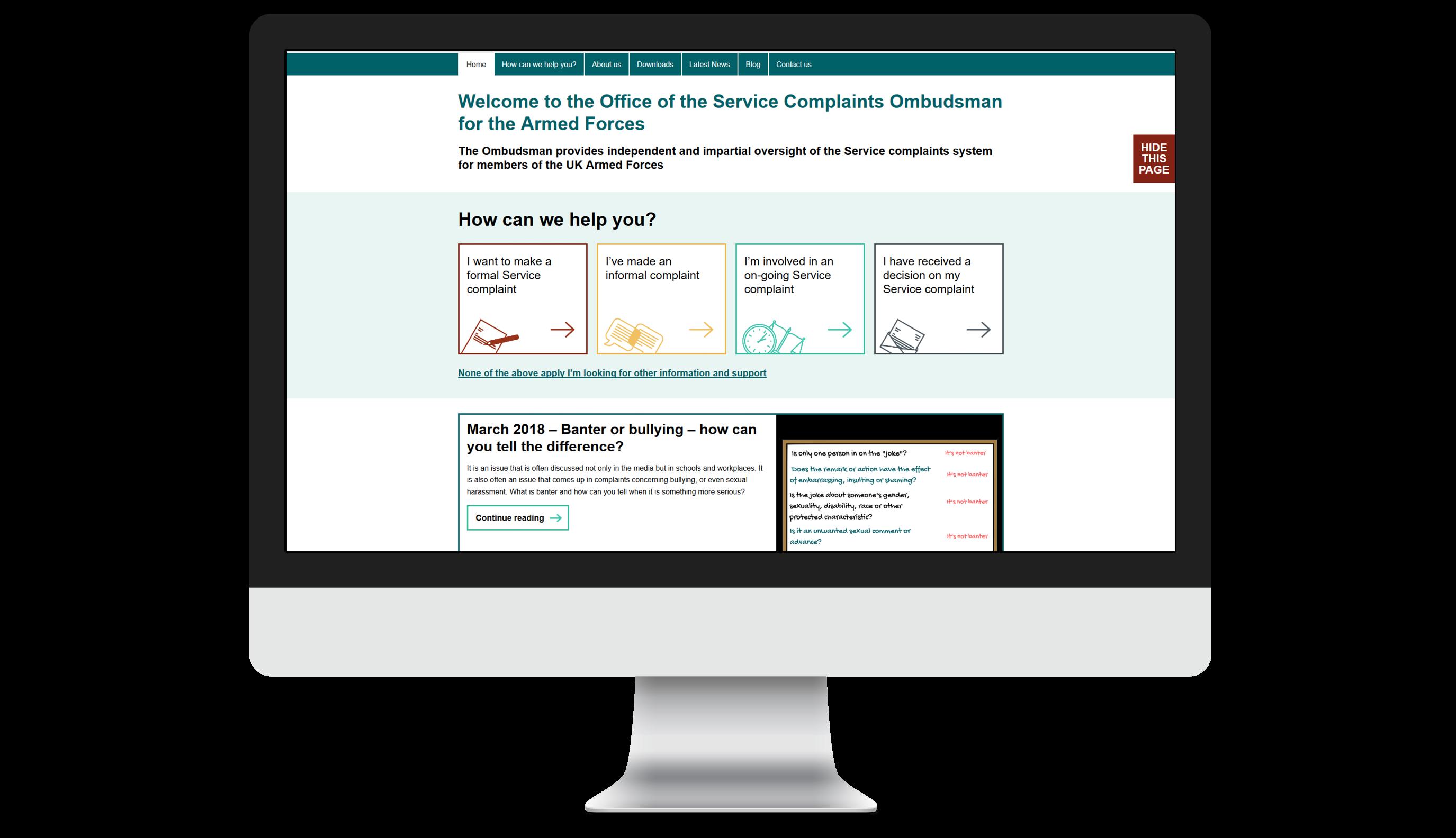 Service Complaints Ombudsman for the Armed Forces website displayed on desktop
