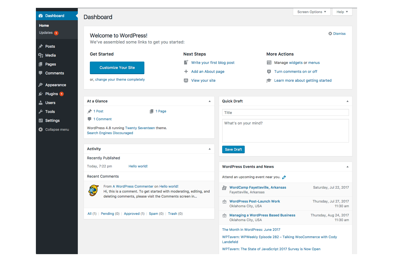 Screenshot of WordPress dashboard interface