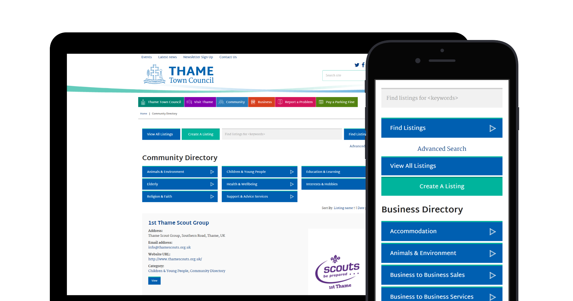 Thame Town Council's website displayed on desktop and mobile
