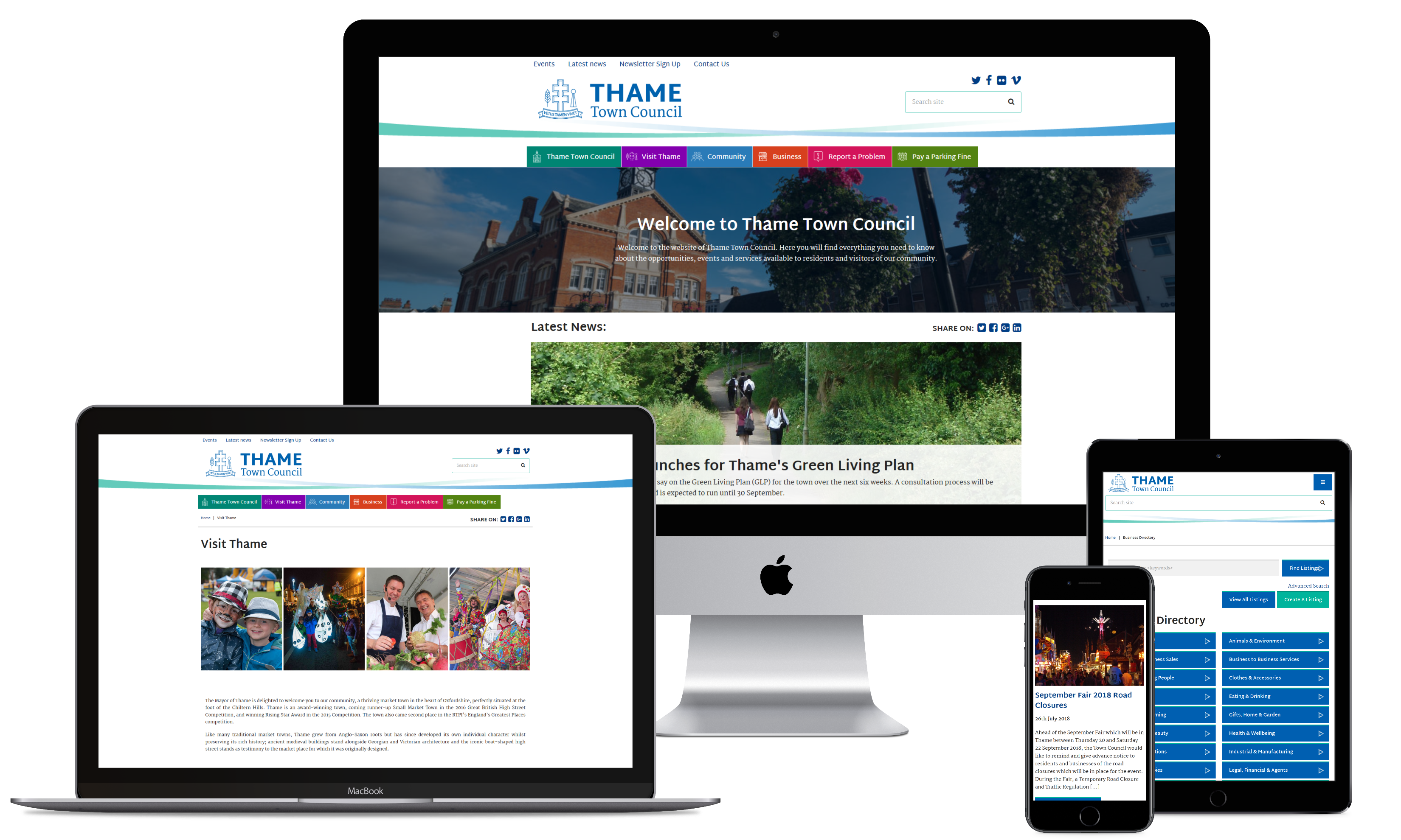 Thame Town Council website displayed on various digital devices