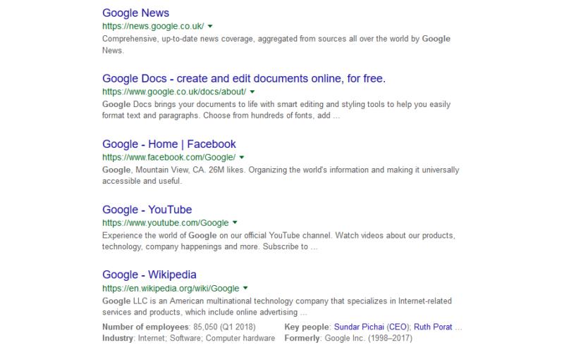 Meta descriptions from Google
