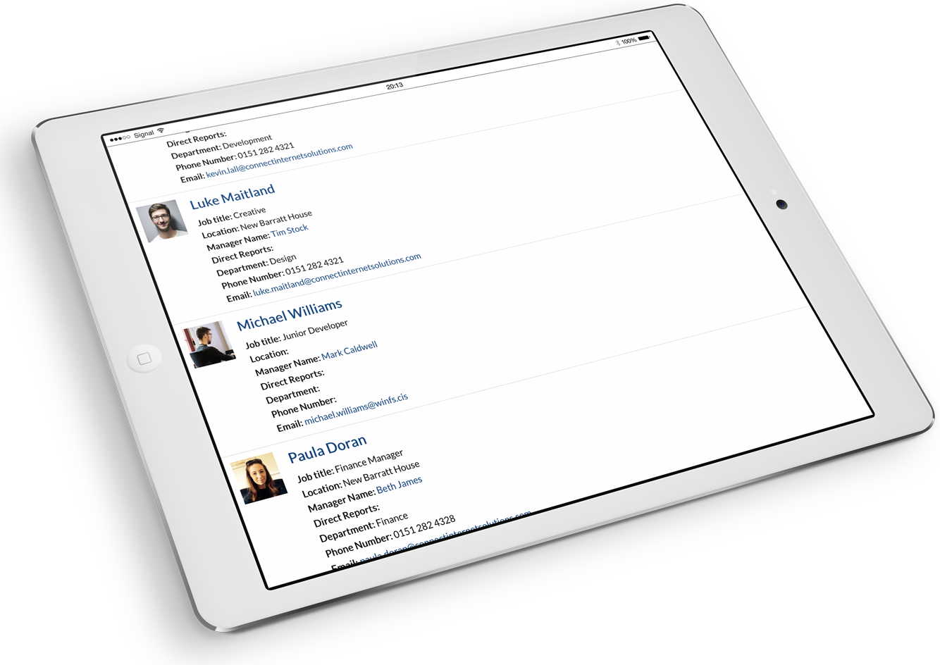 Staff Directory from Hivetalk affordable intranet displayed on a tablet