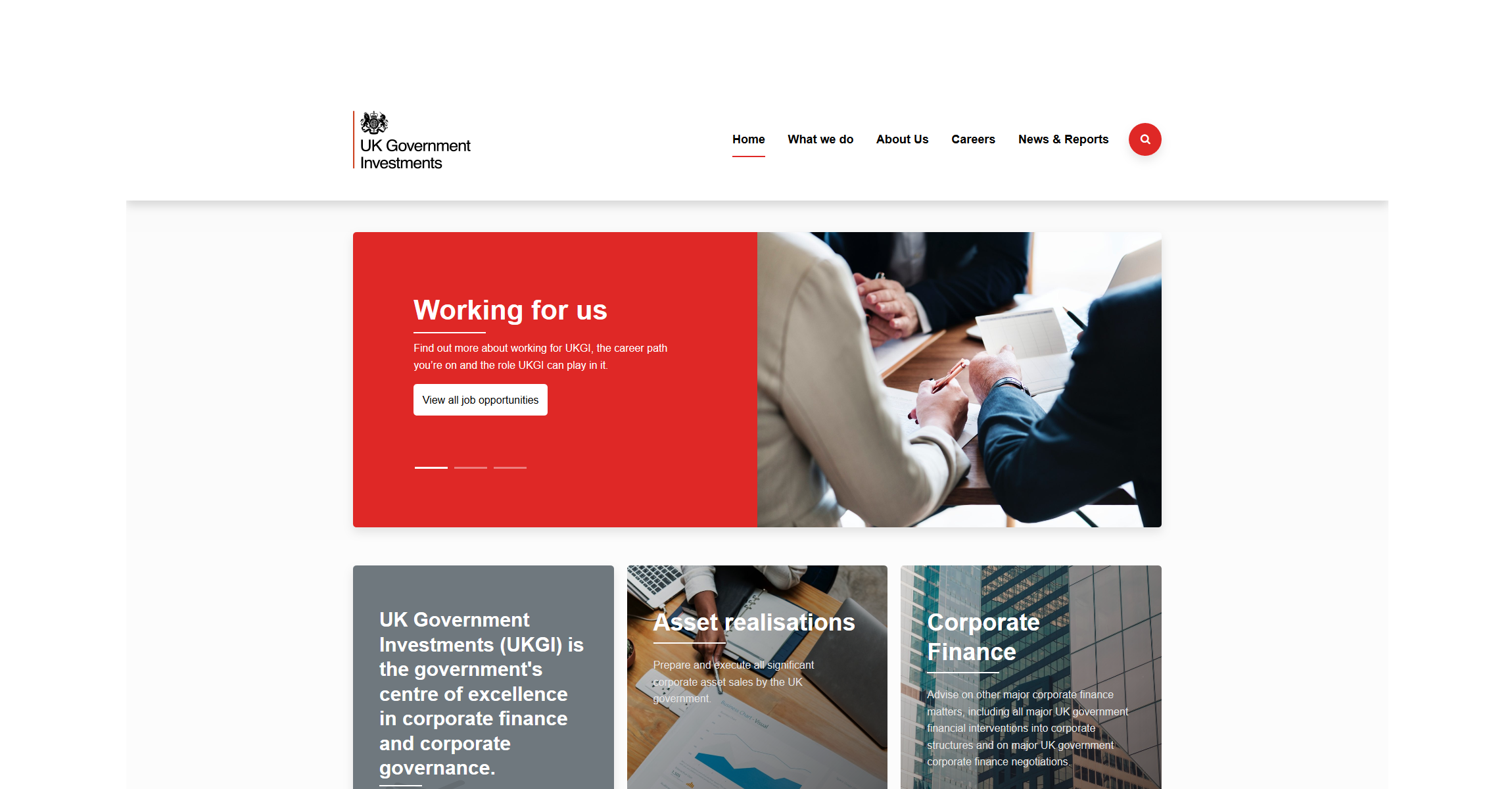 UK Government Investments (UKGI) website homepage screenshot