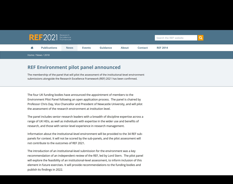 A screenshot of UK Shared Business Service's REF 2021 website