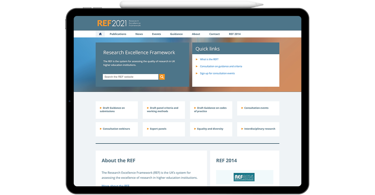 UK Shared Business Service's REF 2021 website displayed on iPad Pro