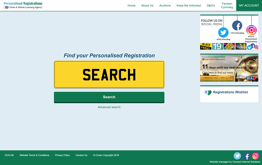 A screenshot of DVLA's Personalised Registrations website