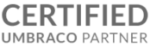 Certified Umbraco Partner greyscale transparent logo