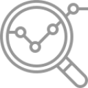 Greyscale icon of magnifying glass with graph