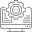 Greyscale icon of computer screen with gear overlay