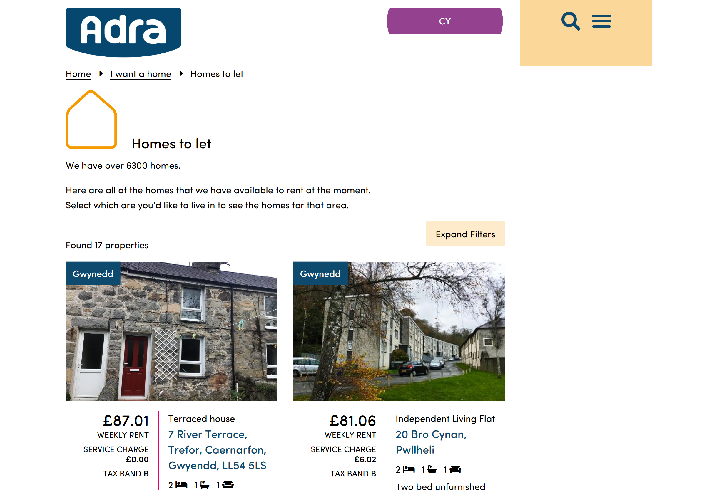 Adra properties section screenshot