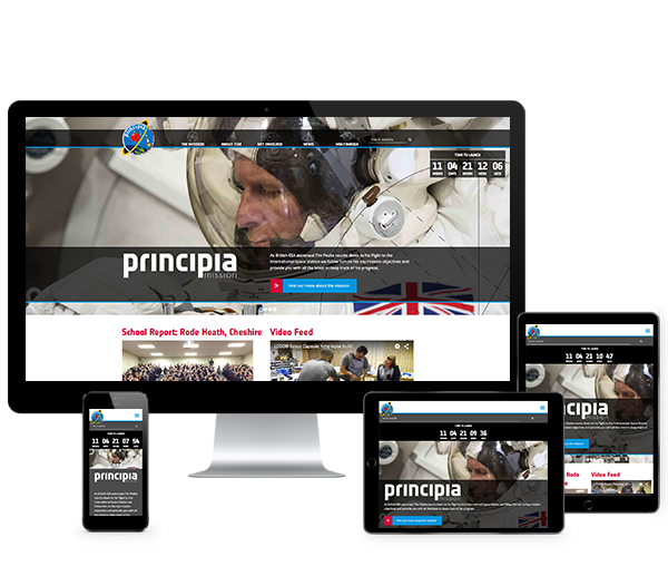 The official Principia website displayed across a range of devices